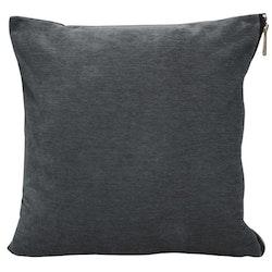Soft ett melerat kuddfodral i sammet med en tuff dragkedja i guldfärg. Färg: Grå.