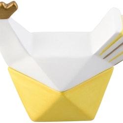 Hello Hen Gömma S Från Cult design är en perfekt godisgömma till helggodiset.  Färg: Gul, vit och guld.