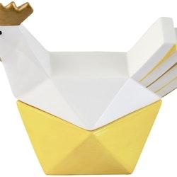 Hello Hen Gömma S Från Cult design är en perfekt godisgömma till helggodiset eller till äggen.  Färg: Gul, vit och guld.