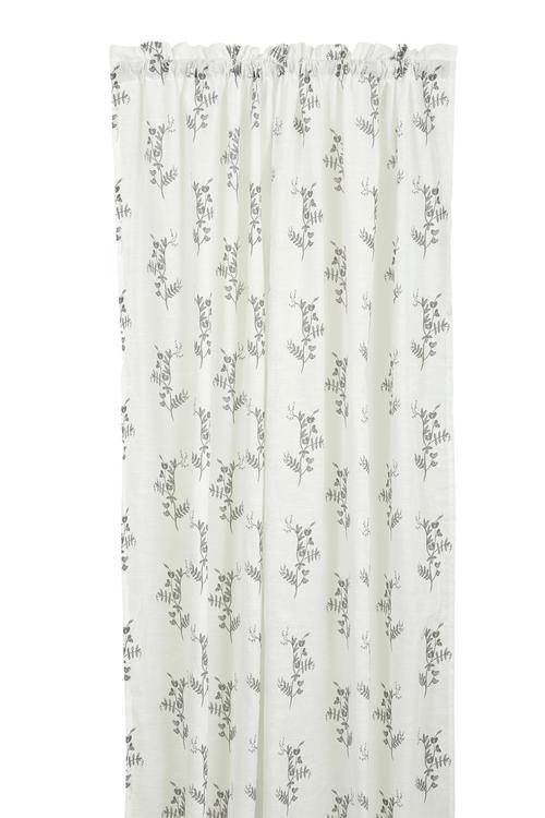 Vicke ett gardinset med kanaler. Färg: Vit med ett grått mönster.