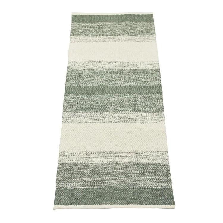 Sandra 140 x 200 cm en snygg bomullmatta med ett skönt mönster. Färg: Grön och off-white.