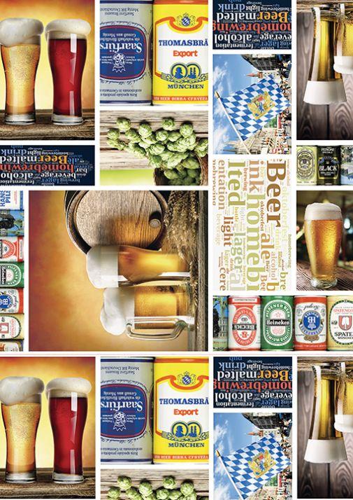 Öl en vaxduk på metervara från Redlunds Färg: Ett collage av ölbilder i många färger. Bredd 140 cm.