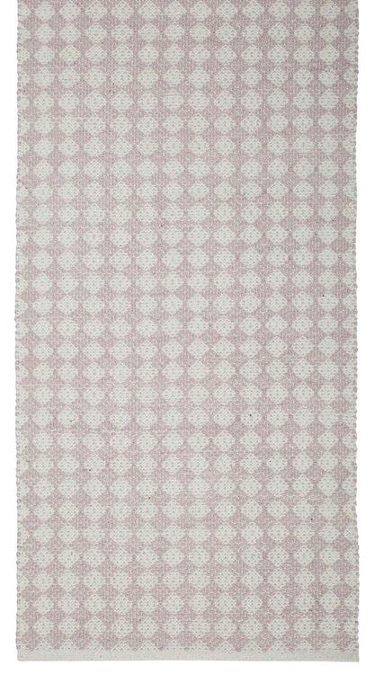 Temmy 70 x 240 cm en snygg bomullmatta med ett skönt mönster. Färg: Rosa och off-white.