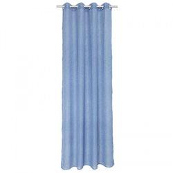Pastell ett gardinset med öljetter. Färg: Blå.