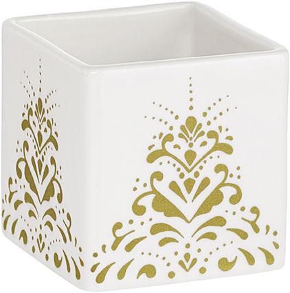 Kub curbits bowl från Cult design. Färg: Vit med ett guldmönster.