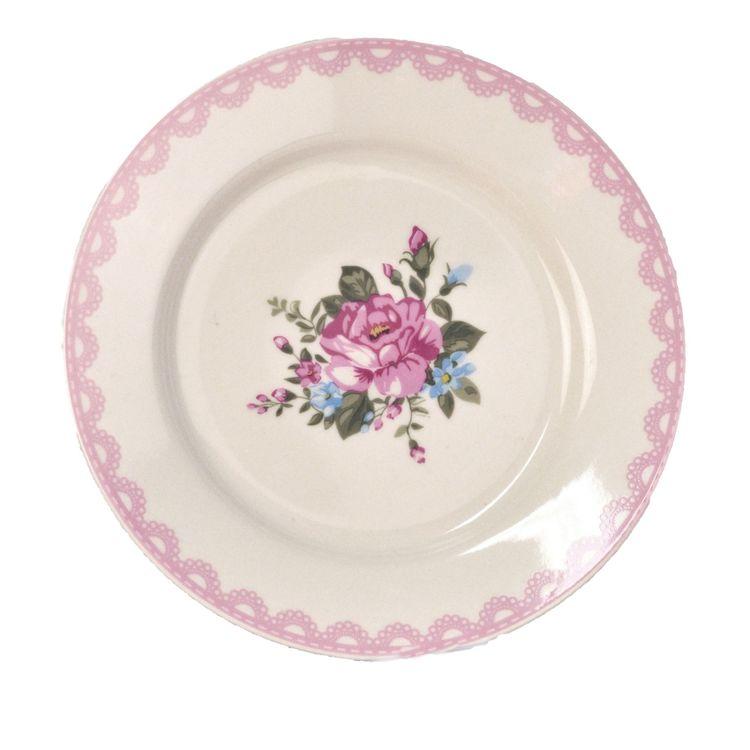 78920 en assiett i stengods. Färg: Offwhite med en rosa bård och ett vackert blommönster.