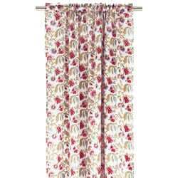 Smillan ett gardinset med kanaler. Färg: Vitt med ett blommönster i rosa, rött, gult, blått och grönt.