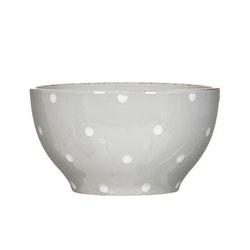Frukostskål Milo i en ¨mixa och matchaservis¨ i grått med en vita prickar från Modern house.  Mått D 14 cm, H 7,5 cm.