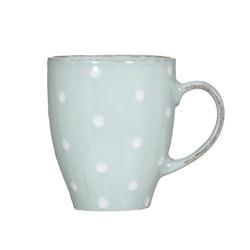 Kaffe/temugg Milo en ¨mixa och matchservis¨i mintgrönt med en vita prickar från Modern House. Mått H 9,5, D 8 cm. 280 ml.