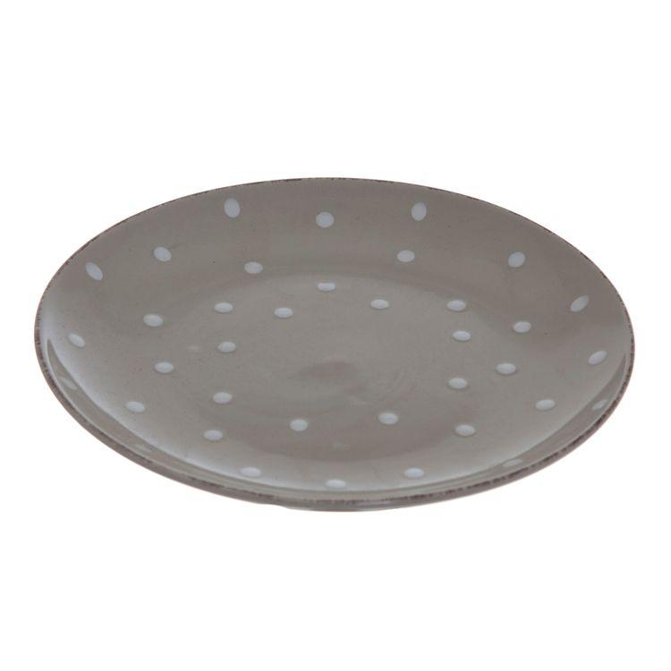 Assiett Milo i en ¨mixa och matchaservis¨ i beige med vita prickar från Modern house.  Mått D 20 cm, H 3 cm.