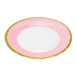 Popish ett set med 6 st pappersassietter från Modern house. Färg: Vit med en rosa och guldfärgad rand.