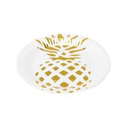 Popish Pinapple ett set med 6 st pappersassietter från Modern house. Färg: Vit med en guldfärgad ananas.