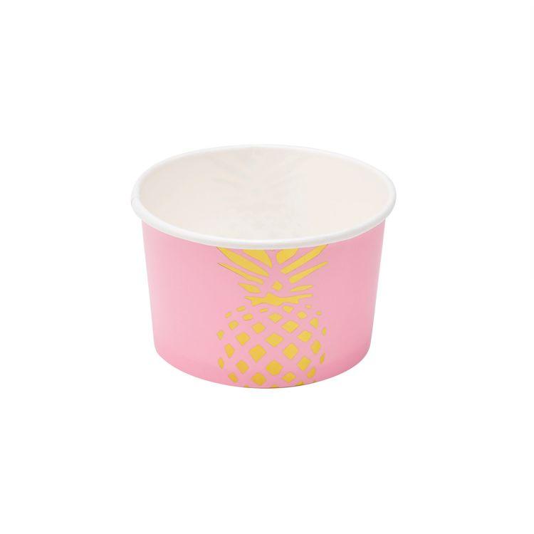 Popish ett set med 6 st glassbägare i papper från Modern house. Färg: Rosa med en guldfärgad ananas.
