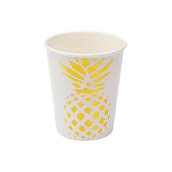 Popish ett set med 6 st pappermuggar från Modern house. Färg: Vit med en guldfärgad ananas.