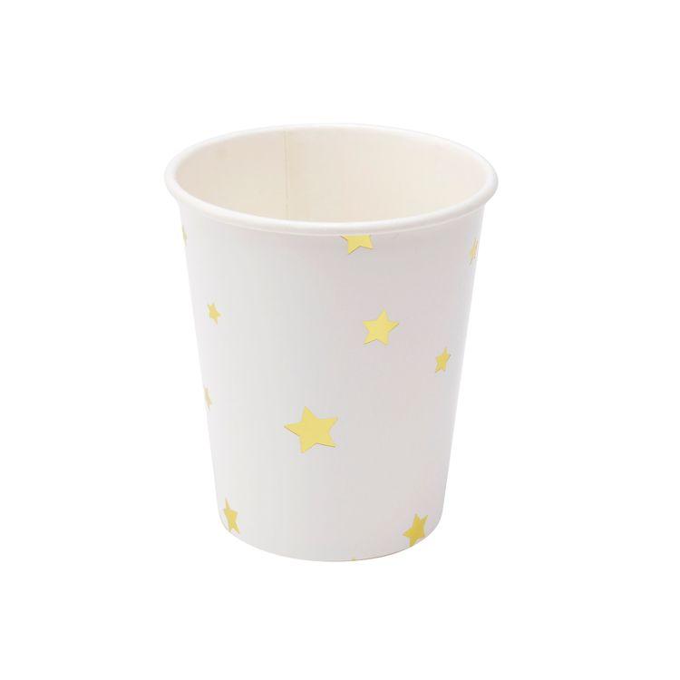 Popish Stjärna ett set med 6 st pappermuggar från Modern house. Färg: Vit med en guldfärgad ananas.