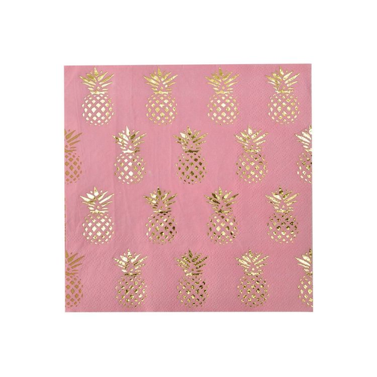 Popish pappersservetter från Modern house. Färg: Rosa med guldfärgade ananasar.