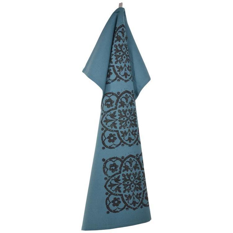Marrakesh en kökshandduk i 100% bomull, 21852-380. Färg: Blå med ett svart tryck.