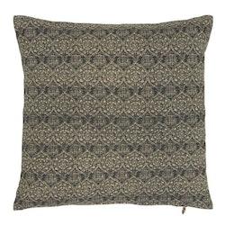 Ornament ett kuddfodral i bomull med skönt mönster. Färg: Mörkblått och natur.