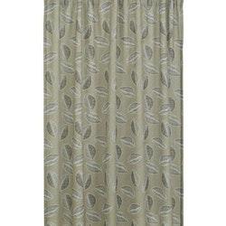 Kelly ett gardinset med multiband, art-nr 22651-83. Färg: Beige med svarta och vita blad.