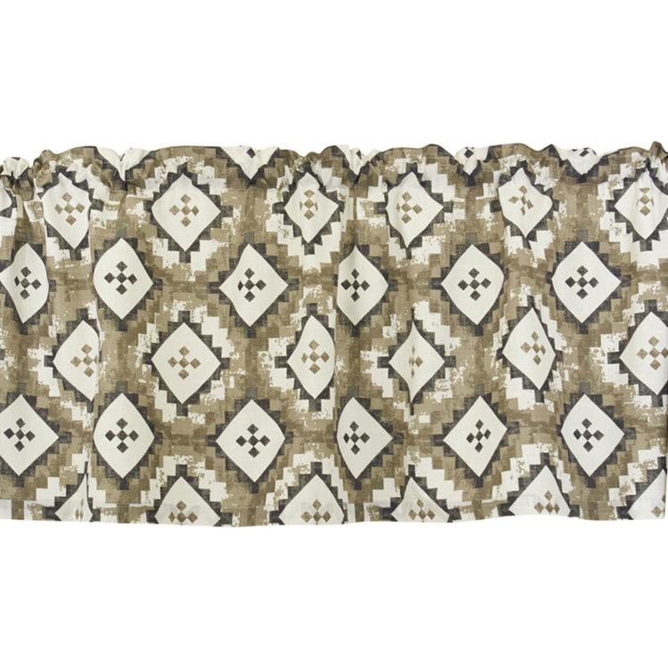 Ottilia en färdigsydd gardinkappa med kanal, art.nr 22234-380. Färg: Vit botten med grå och bruna toner.