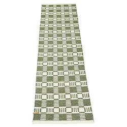 Cotton quadrat en garnmatta i bomull, mått 70 x 240 cm, art.nr 22888-39. Färg: Grön och vit.