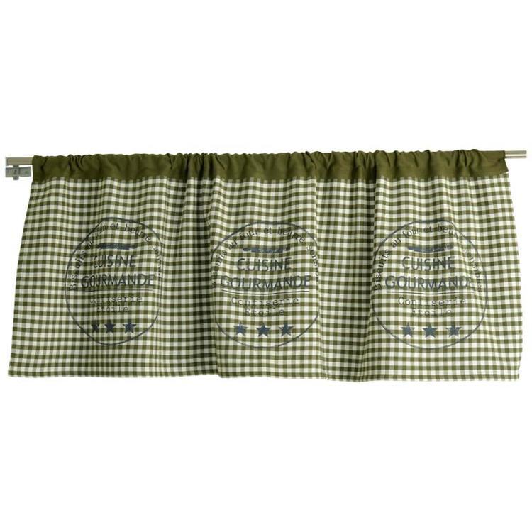 Bistro en grön och vitrutig gardikappa, art.nr 21525-77. Färg Grön och vit.