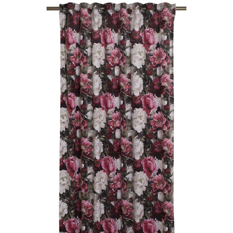 Paeonia ett gardinset i blommig sammet med multiband. Färg: Svart botten med rosa och vita blommor.