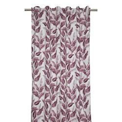 Ranka ett underbart gardinset med multiband. Färg: Off-white med vinröda bladslingor.