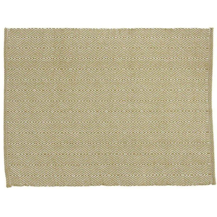 Stina en tablett med ett gåsögamönster i bomull, art.nr 7728-82-037. Färg: Gul och vit.