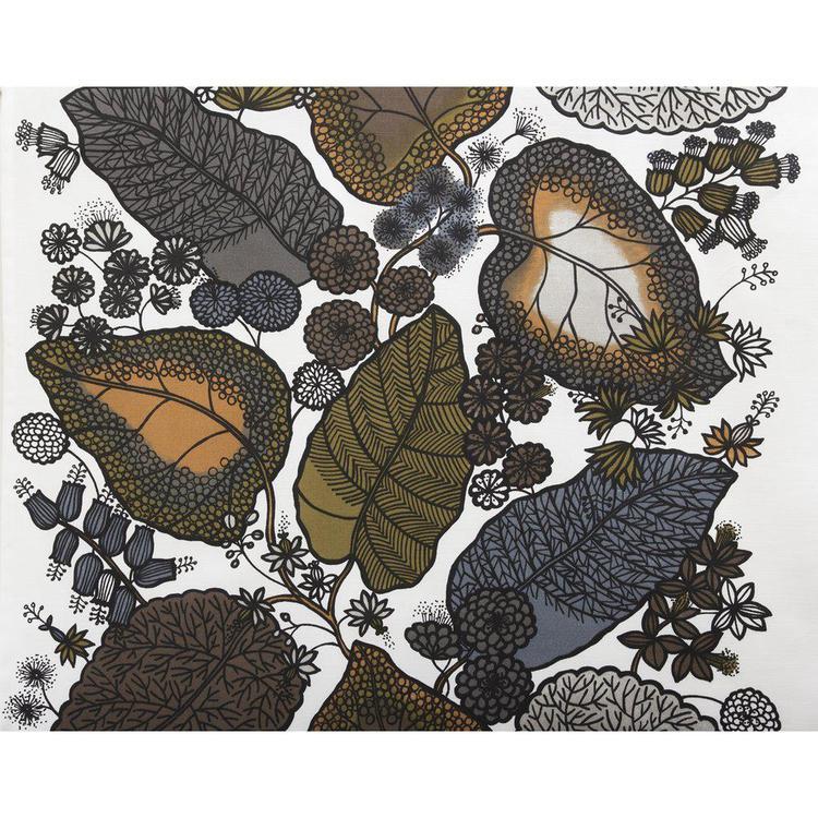 Leaf ett gardinset i ¨halvbredd¨med dolda hällor, art.nr 8008-14-066. Färg: Vit med bruna och grå löv.