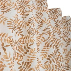 Miniweeze en gardinkappa på metervara med multiband, art.nr9869-08-034. Färg: Vit med rostbruna blad.