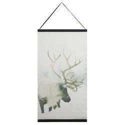 Ren en härlig julbonad, mått 50 x 70 cm, art,nr 9402-77-001. Färg: Vit med en ren i vinterlandsskap.