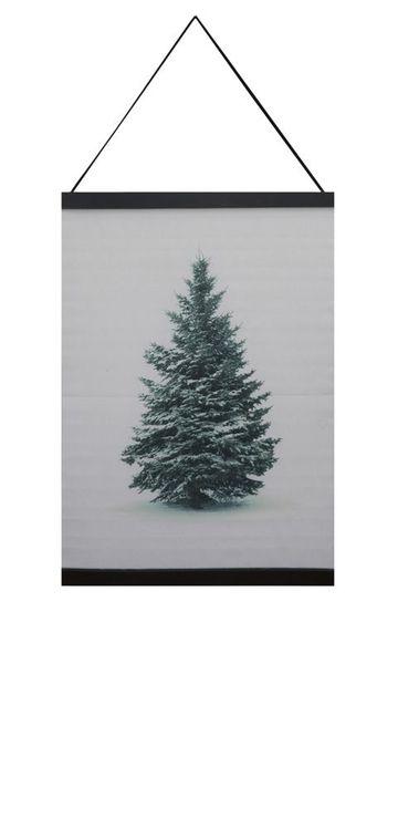 Gran en härlig julbonad, mått 60 x 110 cm, art,nr 9402-89-007. Färg: Vit med en gran i vinterskrud.