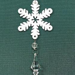 Snöflinga 2 julgranshänge med prismor från Cult design, art.nr 16937701. Färg: Vit med glitter och hängande prismor.
