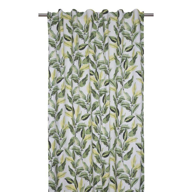 Ranka ett underbart gardinset med multiband. Färg: Off-white med gröna bladslingor.