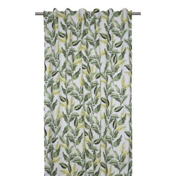 Ranka ett underbart gardinset med multiband, art.nr 9523-20-007. Färg: Off-white med gröna bladslingor.