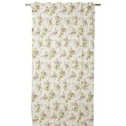 Alina ett gardinset med multiband, art.nr 1088-20-005. Färg: Vit med rosa rosor blommor och gröna blad.