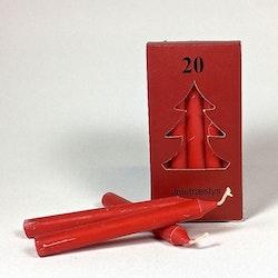 Gammaldags granljus i stearin, 20 st/förpackning. Färg: Röd.