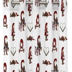 Nissar ett julgardinset med öljetter från Redlunds. Färg: Vit med små tomtar i rött och grönt.