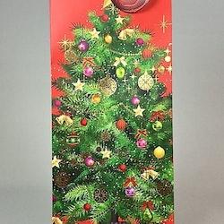 Presentpåse/Vinpåse. Färg: Röd med en grön gran.