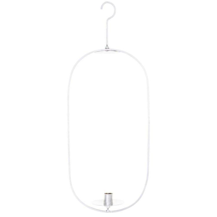 Tord en hängande ljusstake med manchett. Färg: Vitlackad metall.