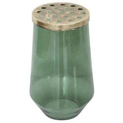 Bukett en underbar vas i grönt med ett lock i mässing. Färg: Grön med ett mässingsfärgat lock med hål i.