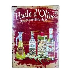 Huile d'Olive en plåttavla i gammal stil med patina. Färg: Röd, gul och grön.