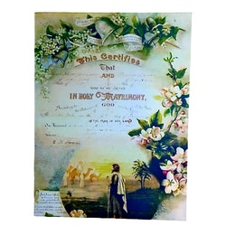 Holy Matrimony en plåttavla i gammal stil med patina. Färg: Multifärgad.