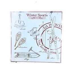 Winter sports en plåttavla i gammal stil med patina. Färg: Röd och vit.