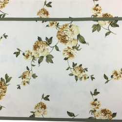 Gardinkappa på metervara med veckband. Höjd 42 cm. Färg: Creméfärgad med gula blommor och gröna blad.