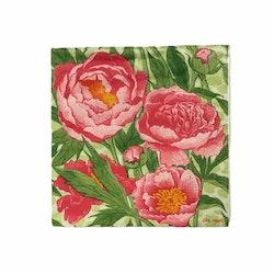 Kaffeservett  Blomma i 4 lager. Färg: Rosa och grön..