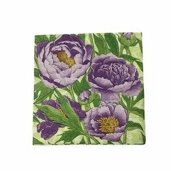 Kaffeservett  Blomma i 4 lager. Färg: Lila och grön..