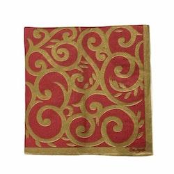 Servett i 4 lager. Färg: Röd och guld.