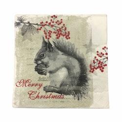 Julservett Ekorre i 4 lager. Färg: Vit, grå och röd.